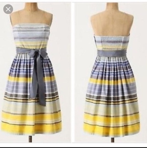 Anthropologie Dresses & Skirts - Anthro Maeve Yellow/Blue Striped Paraiso Dress
